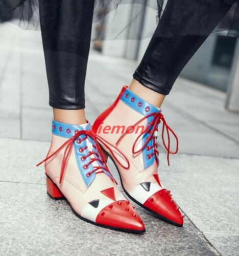 Heels Womens Vintage Pointy Toe Shoes Floral Lace-up Vogue Ankle Boot Fashion/&/&