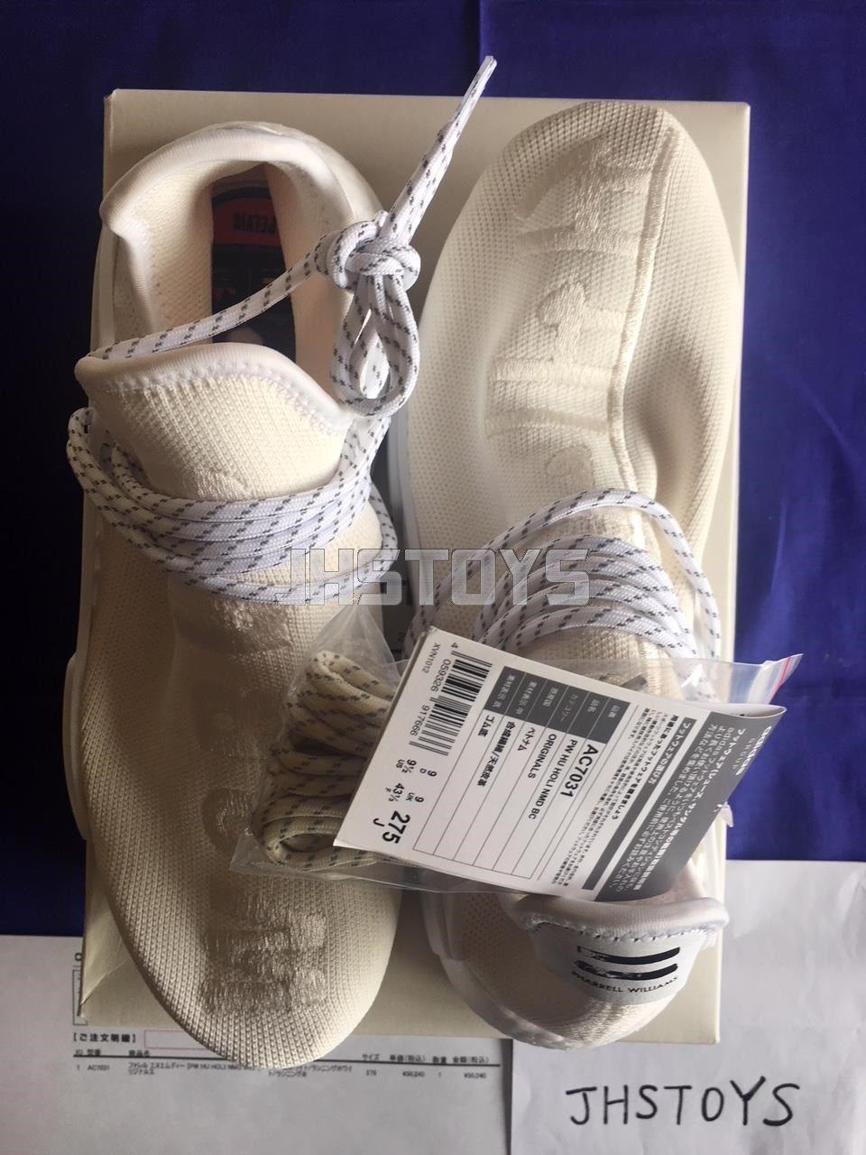 US 9.5 9.5 9.5 Adidas Pharrell HU Human Race Holi Blank Canvas Cream White AC7031 Japan c64aed