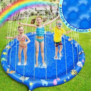 Dookey Sprinkle and Splash Water Play Mat, 68 Inches Inflatable Non-slip Splash