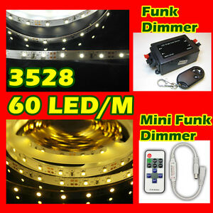 1m 10m 3528 300 smd led strip streifen band wei warmwei mini dimmer trafo. Black Bedroom Furniture Sets. Home Design Ideas