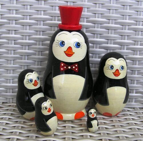Pinguin mit Hut 13 cm, 5er Matroschka Steckpuppe Schachtelpuppe,  NEU