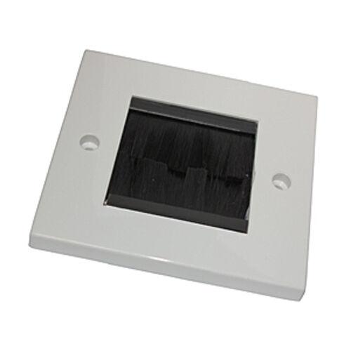 White brush Wallplate unique câble audio domestique Gang Visage Plaque outlet tidy