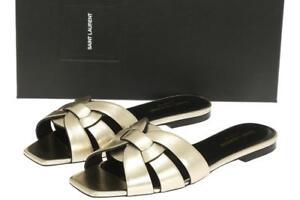 Flat Ysl Nu Laurent Slides Sandals Pieds Platinum Saint Tribute TXiuOwPkZ