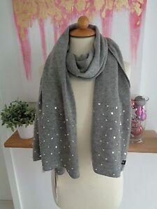 neu codello schal grau mit perlen und pailletten besetzt strickschal ebay. Black Bedroom Furniture Sets. Home Design Ideas