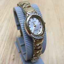 Luxury Elgin Diamond Lady Gold Tone Oval Analog Quartz Watch Hours~New Battery