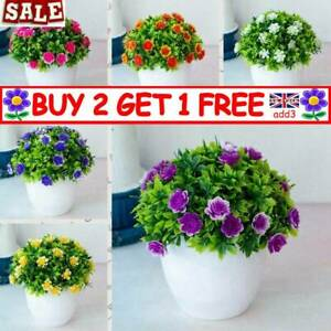 Artificial Potted Flowers Fake False Plants Outdoor Garden Home In Pot Decor New
