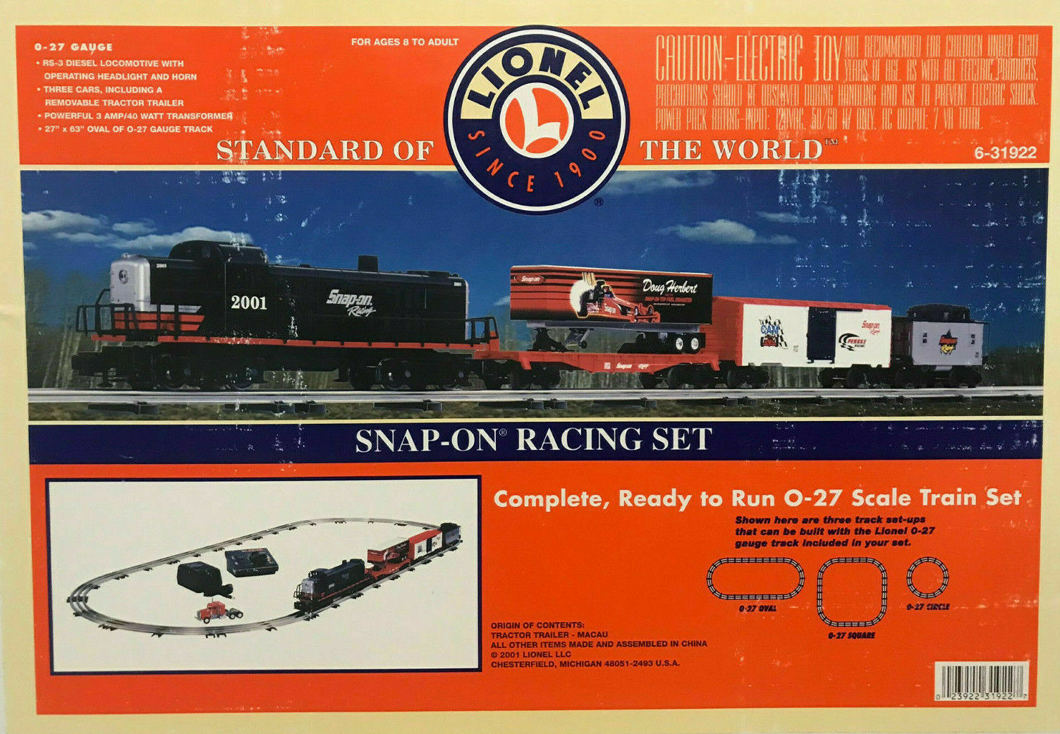 Snap on RACING LIONEL TRENO ELETTRICO SCALA 027 Set con Extra autotellone & AUTO 2001