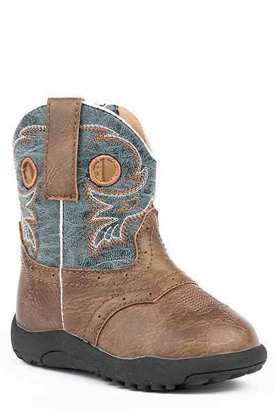 Roper INFANT Baby Boys Marbled bluee Shaft Distressed Brown Leather Cowboy Boots