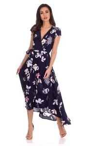 AX-Paris-Womens-Maxi-Wrap-Dress-Navy-Blue-Floral-Short-Sleeve-V-Neck-Casual