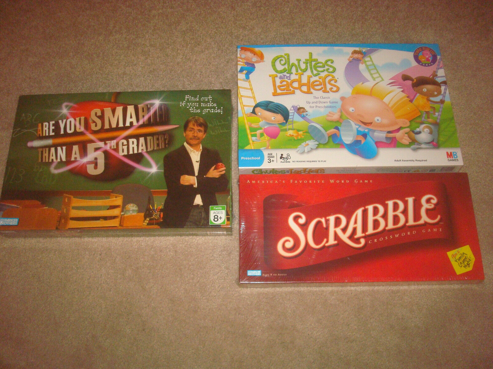 SEALED Board Game LOT Chutes and Ladders Scrabble Smarter 5th Grader Family NEW