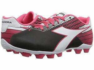 2c2c133af Diadora Ladro MD JR Soccer Cleats Black   White   Pink Toddler Kids ...