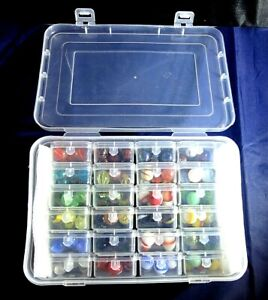Marble Lot In Case With 24 Plastic Containers Each With 5 Marbles Blood Ox More