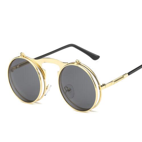Mode Retro Vintage Gothic Runde Flip Up Sonnenbrille Steampunk Brille PipFT