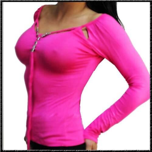 Feines Langarm Shirt speziales Dekoltee glamour weiss  wettlook schwarz rot pink