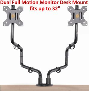 Dual-Full-Motion-VESA-Monitor-Desk-Mount-Heavy-Duty-Double-Arm-Fits-up-to-32-034