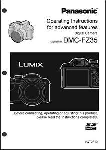 panasonic lumix dmc fz35 advanced camera user guide instruction rh ebay com Glossary for Panasonic DMC-TZ3 Glossary for Panasonic DMC-TZ3