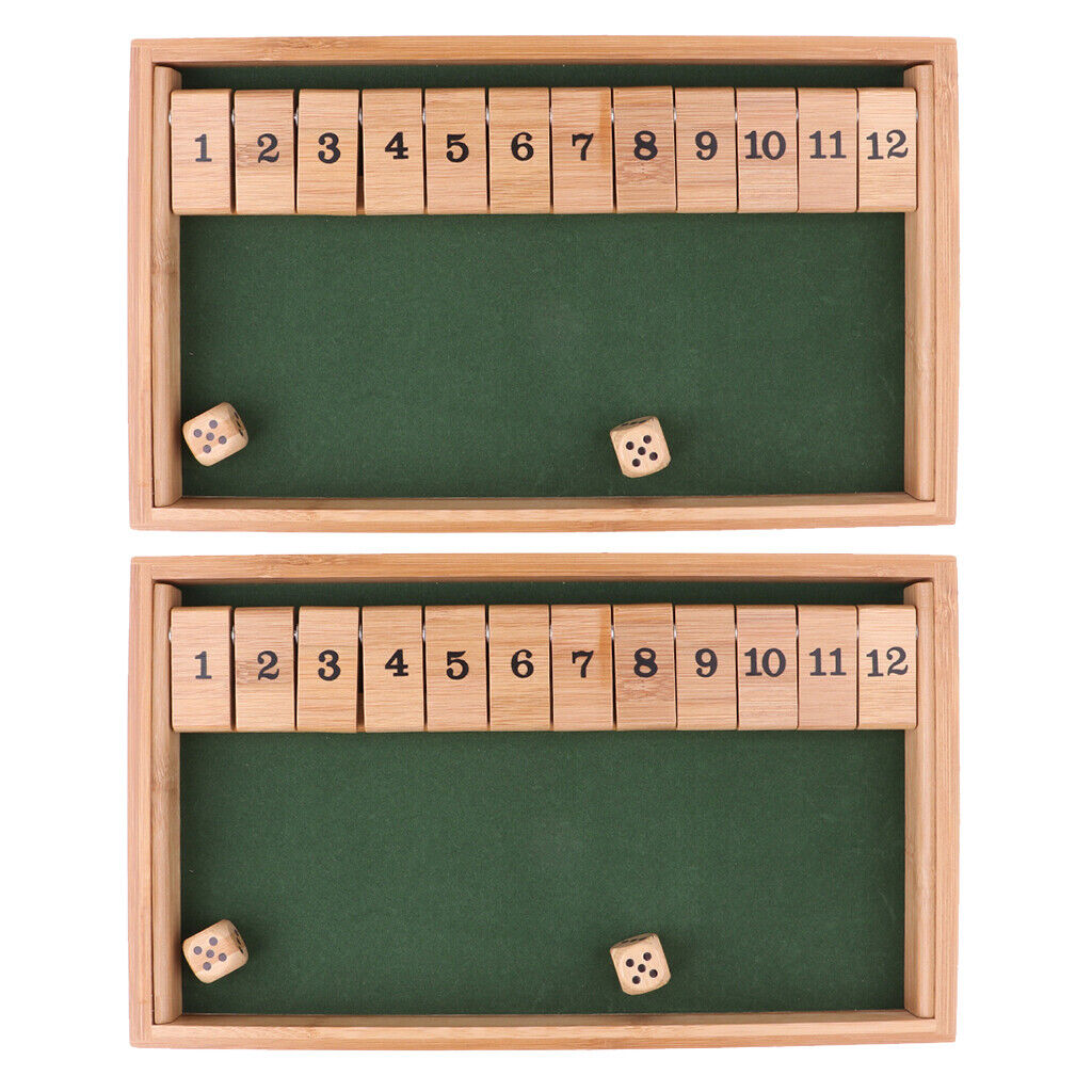 Wooden Deluxe 1-12 Number Shut the Box Dice Board Game for Kids Boys Girls