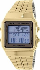 Casio world time map gold tone stainless steel digital watch a500wga image is loading casio world time map gold tone stainless steel gumiabroncs Images