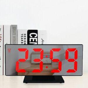 Alarm Clock LED Digital Clock Multifunction Mirror Snooze Display Time Night