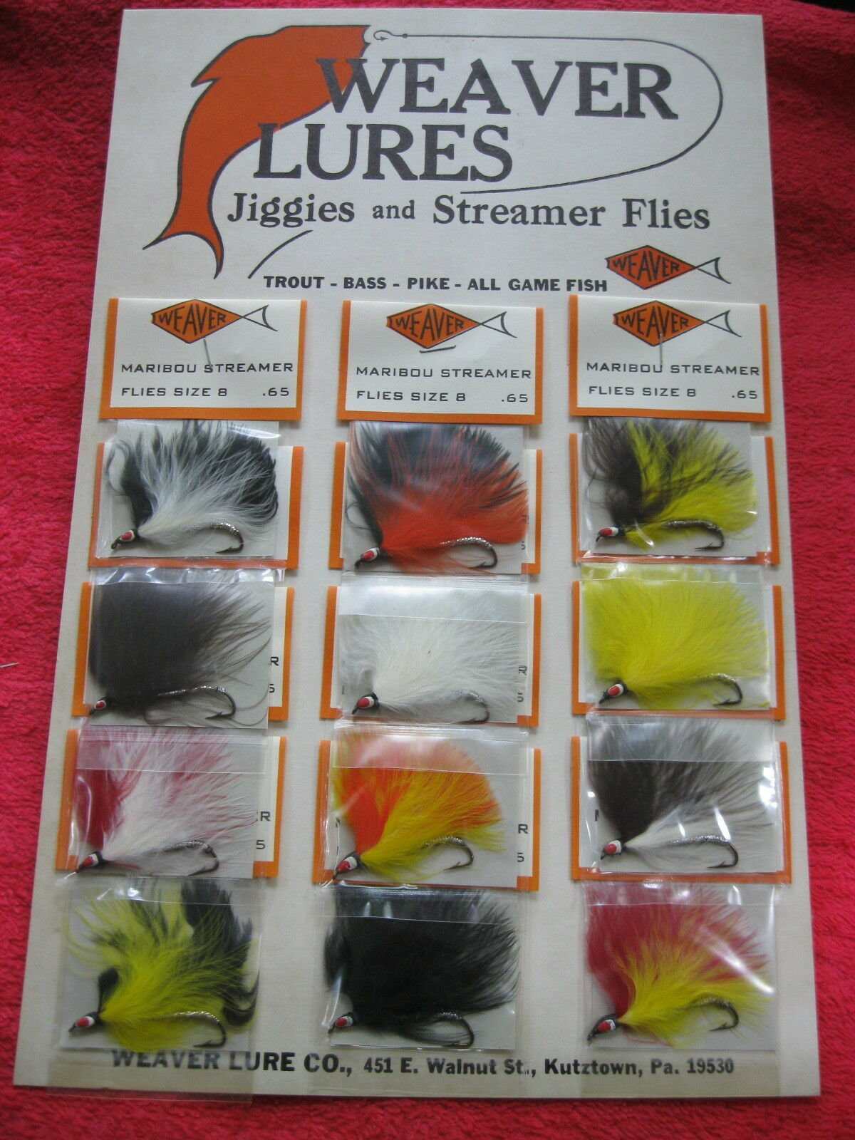 VINTAGE WEAVER MARIBOU STREAMERS, FISHING FLIES, FULL CARD OF 12, NOS