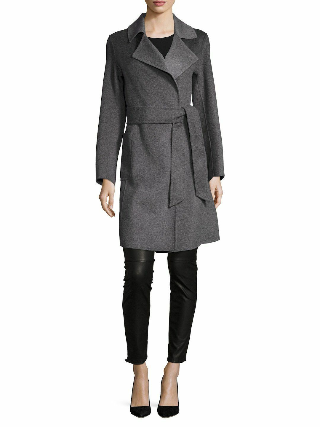 NWT NANETTE LEPORE HEATHER GREY DOUBLE FACED WOOL WRAP BELTED COAT SIZE L