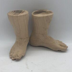 Coppia Piedi Bambino Gesu'  figura wood Foot Restauro Santo pastori crib 8,5 cm