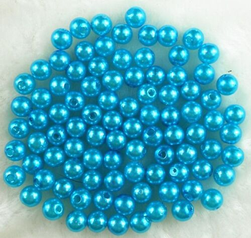 50Pcs 8mm Acrylic Round Pearl Spacer Loose Beads DIY Jewelry Findings