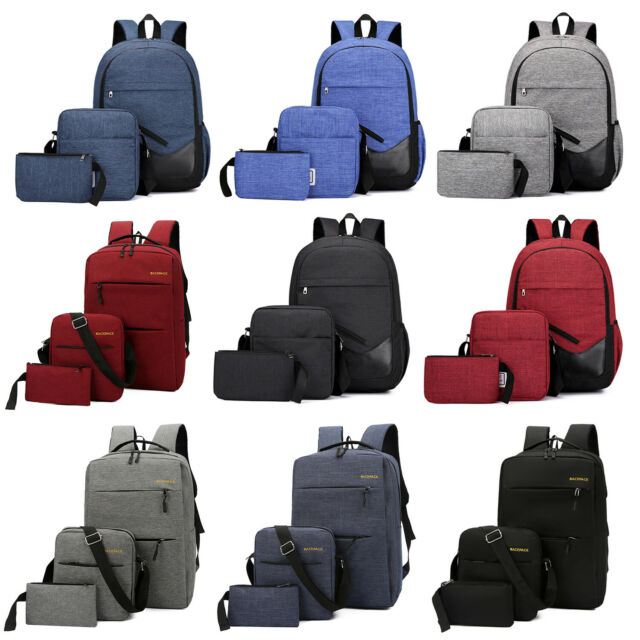 3pcs Men Boys Girls Women Backpack School Shoulder Bag Rucksack Canvas  Bookbag
