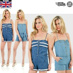 391ab00fd4caf Image is loading Ladies-Dungaree-Shorts-Denim-Jeans-Overalls-Romper-One-