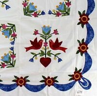 Red Love Birds in the Garden Hand Applique QUILT TOP - Incredible border