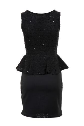 New Ladies Sleeveless Knitwear Sequin Peplum Skirt Women/'s Dress