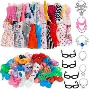 Clothes-And-Accessories-For-Barbie-Doll-32-Pcs-Party-Dress-Outfit-Glasses-Shoes