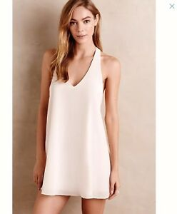Details About Anthropologie E By Eloise New Sheer Ivory Silk Slip Dress Sz L Racerback Gown