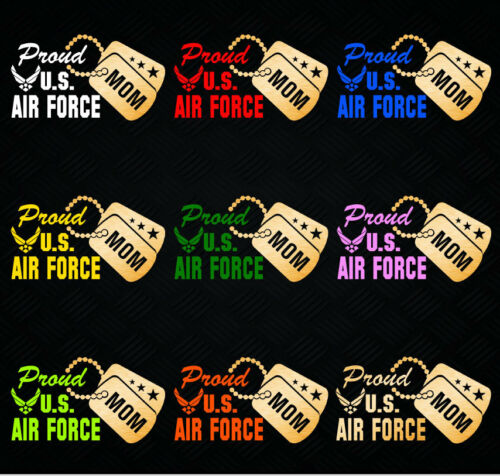 """W w// Gold Military Dog Tag Proud US Air Force Mom Vinyl Car Decal Sticker 7.5/"""""""
