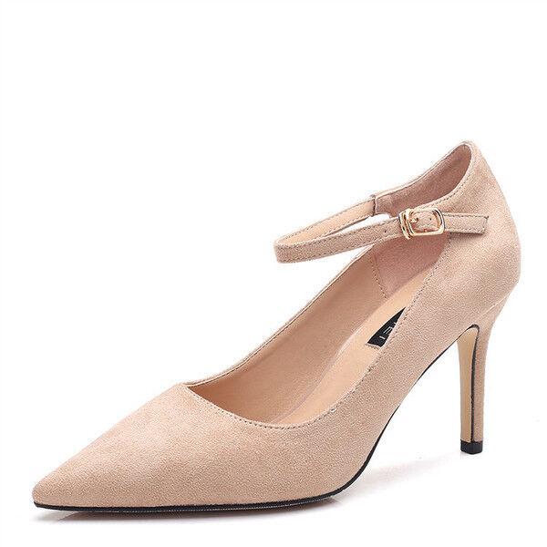 Casual salvaje Descuento por tiempo limitado zapatos de salón mujer 8 cm elegantes tacón aguja rosa cinturón como piel 9681