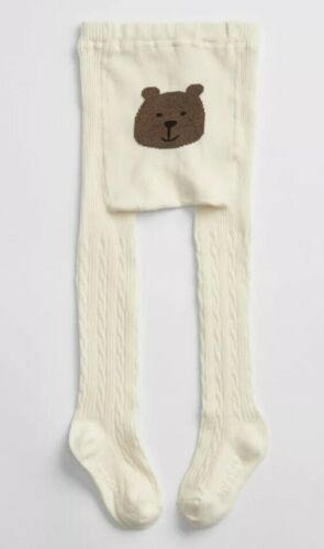 3T //2-3 Years Baby Gap Girl Toddler Cable Knit Bear Tights Ivory Frost Size 2T
