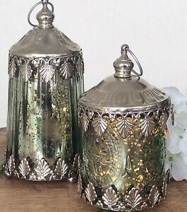 2 h nge windlicht bauernsilber antk metall lampen fenster for Fenster lampen