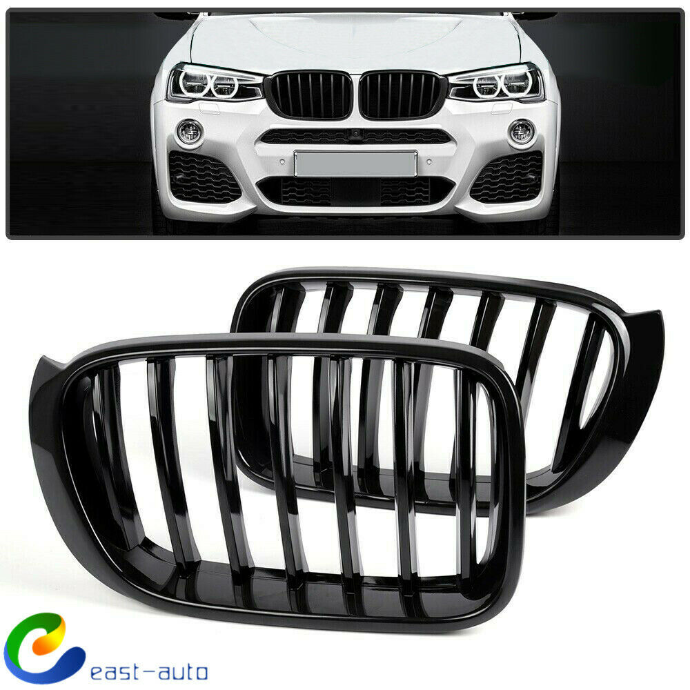 Huichi Gloss Black ABS Front Kidney Grille with Single Slat Mesh Grill Compatible for BMW X3 F25 X4 F26 2-pc Set