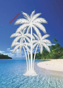 Palm Trees Window Decal 4x6 Oval Etched Glass Look Static Clings Tropical Decor Ebay