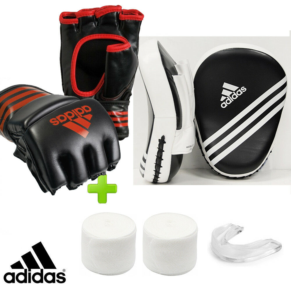 New  adidas MMA Training Boxing Sparring Set  Focus Mitts, Gauze & Mouthguard