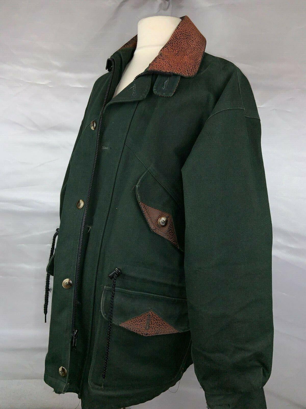 1990's BARN COAT COAT COAT Men's Grün with Leather Collar and Trim (Siehe Anmerkungen zur Größe) 9af