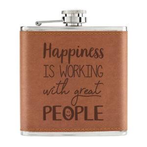 Bonheur-Est-Travail-avec-Grand-People-170ml-Cuir-PU-Hip-Flasque-Fauve-Infirmiere