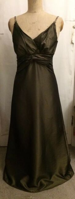 Size 10 Bronze Brown Sleeveless Maxi Dress Satin Look Wedding Party Glam