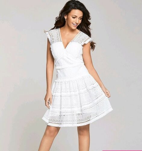 Dress 70 Tiered Lace 16 Rrp Uk Geo Keegan Ivory Michelle Bnwt tSqYvv