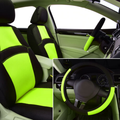 Universal Car Seat Covers Mesh Breathable Green Steering Wheel Cover for SUV VAN