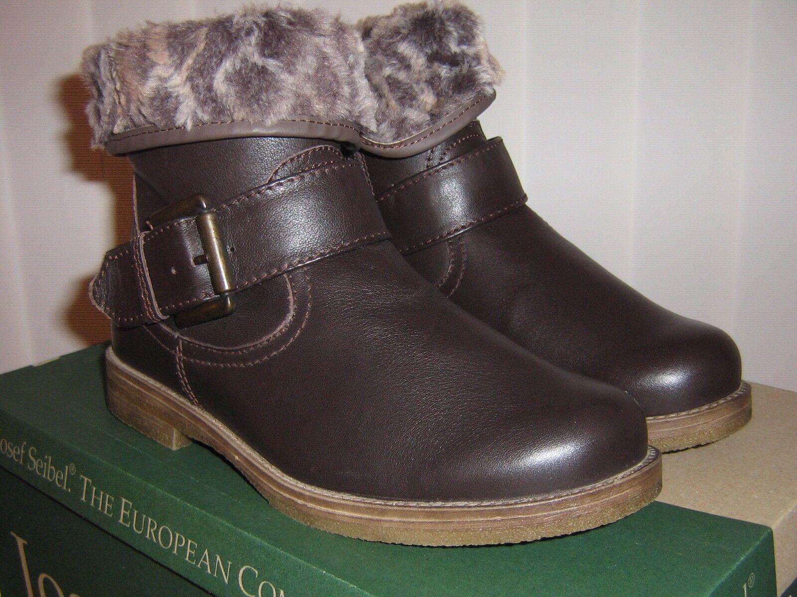 Josef Seibel Tamara 04 braun Leather Two Way Zip Up Ankle Stiefel Warm Lining