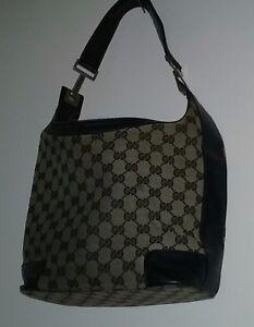 1da9e8a6209 Image is loading Classic-Vintage-Gucci-Handbag-Black-Grey-Gucci-Print-