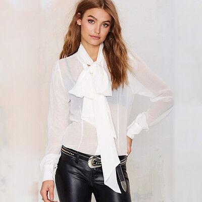 Women's Bow Tie Collar Long Sleeve Chiffon Blouse Party OL Shirt Tops S-XXXL