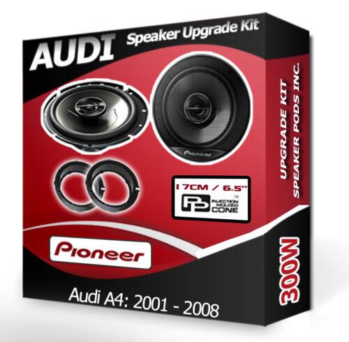 Audi A4 Puerta Altavoces Pioneer Altavoz para automóvil Kit Adaptador Anillos vainas 300 W
