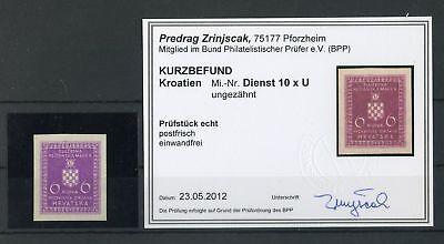 UnermüDlich Kroatien-dienst Nr.10xu ** UngezÄhnt Wappen Befund Zrinjscak Bpp Europa Briefmarken 132693